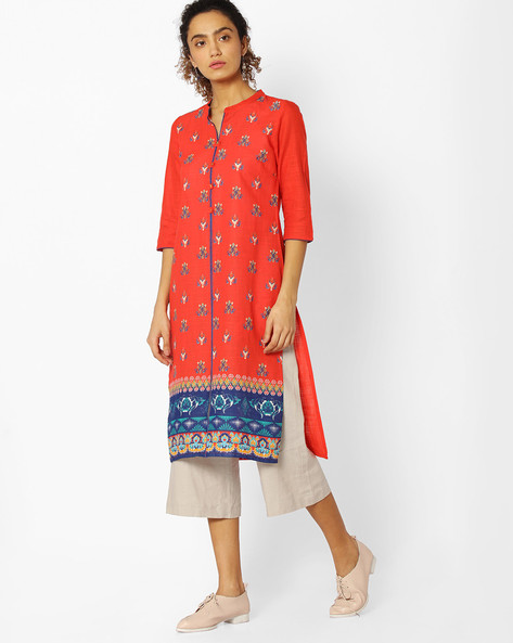Floral Print Straight Kurta By AURELIA ( Orange )