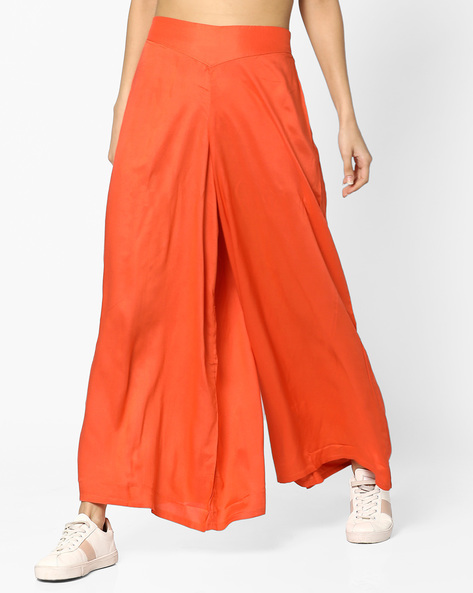 High-Rise Palazzo Pants By And ( Coral )