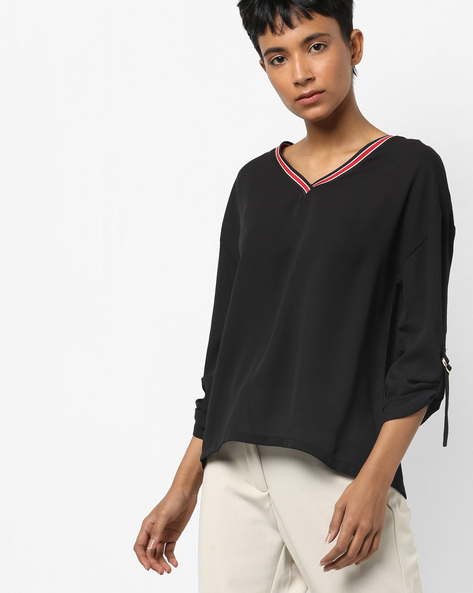 V-neck Top With Buckle-Tab Sleeves By AJIO ( Black )