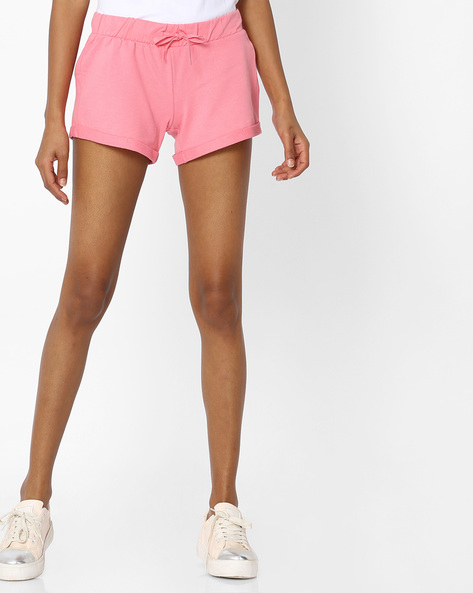 Cotton Shorts With Drawstring Waist By Pink Woman ( Pink )