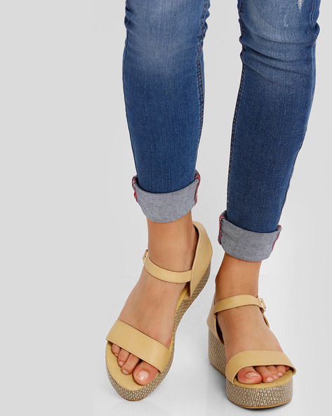 Strappy Platforms With Buckle Closure By Get Glamr ( Beige )
