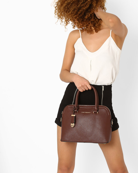 Textured Handbag With Logo Charm By Lino Perros ( Brown )