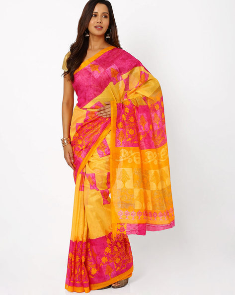 Printed Bhagalpuri Silk Saree By Viva N Diva ( Orange )