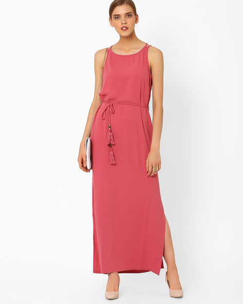 Maxi Dress With Tie-Up By AJIO ( Pink )