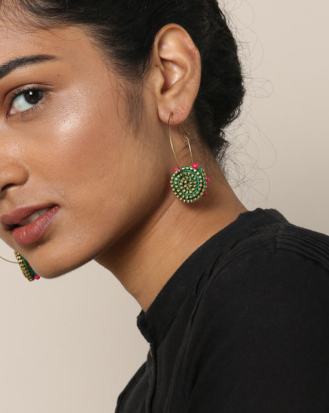 Handcrafted Swirl Hoop Earrings With Pearl & Thread By Anetra ( Multi )