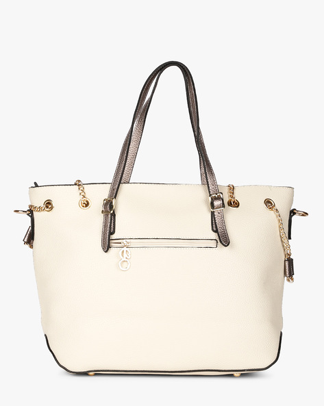 Laser-Cut Panel Shoulder Bag By E2O ( Beige )