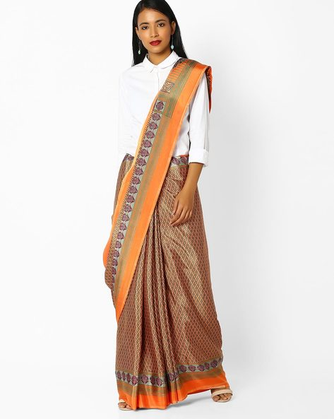 Printed Saree With Contrast Border By Majestic Silk ( Grey )