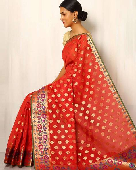 Banarasi Woven Zari Cotton Silk Saree By Indie Picks ( Red )