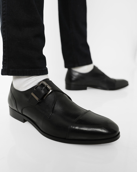 Cap-Toe Genuine Leather Monk Shoes By Hats Off Accessories ( Black )