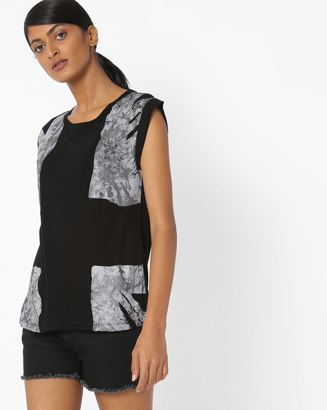 Graphic Print Crew-Neck T-shirt By Pepe Jeans ( Black )