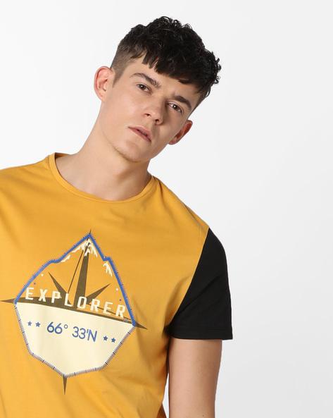 Graphic Print Crew-Neck Shirt By AJIO ( Yellow )