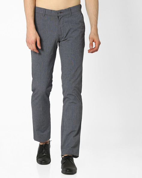 Flat-Front Slim Fit Cotton Trousers By NETWORK ( Charcoal )