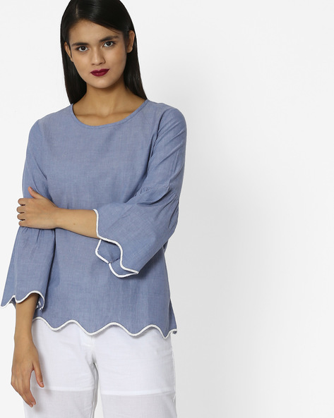 Crew-Neck Top With Bell Sleeves By Project Eve WW Casual ( Blue )