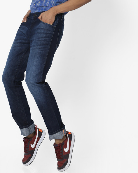 Slim Fit Jeans With Whiskers By JOHN PLAYERS ( Blue )