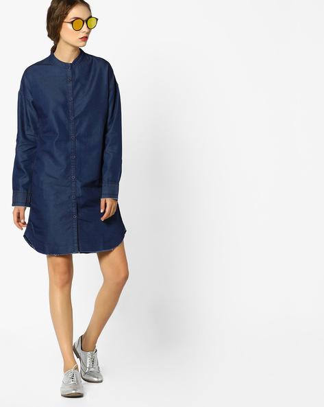 Denim Shirt Dress With Band Collar By AJIO ( Blue )