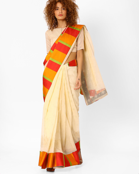 Printed Saree With Contrast Border By Arissa ( Offwhite )