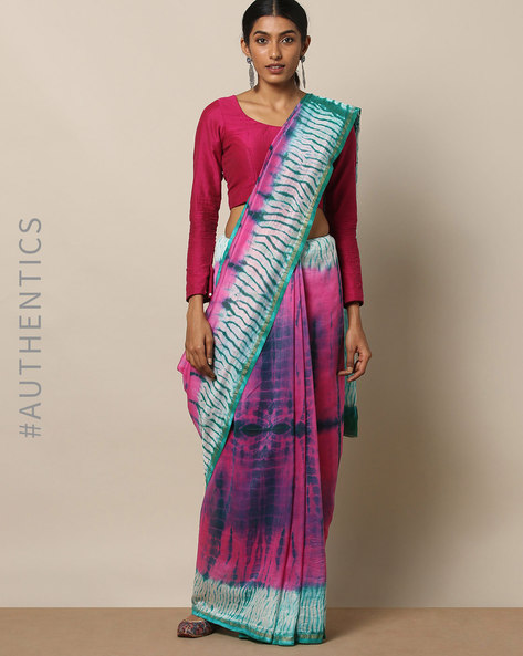 Shibori Tie Dye Chanderi Saree With Zari By Indie Picks ( Multi ) - 460146853001