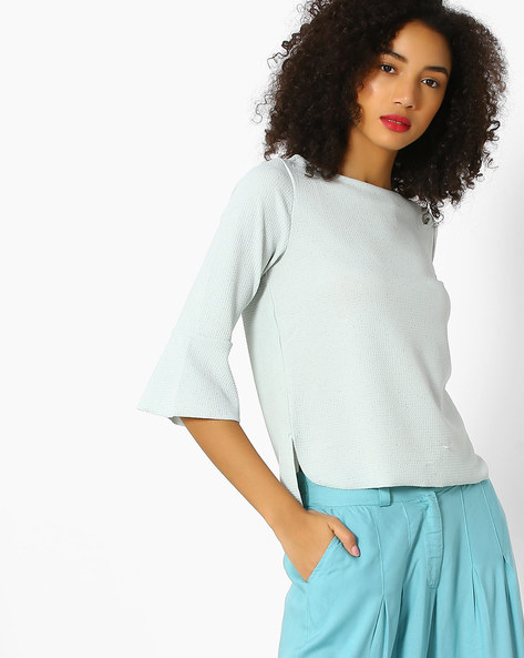 Knitted Top With Flared Sleeves By CODE By Lifestyle ( Aqua )