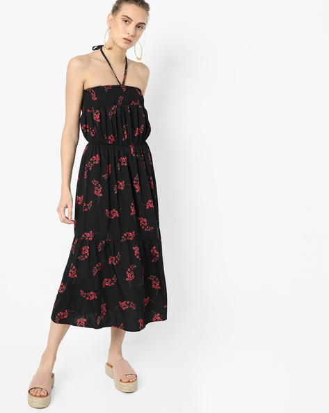 Floral Print Tiered Dress By Oxolloxo ( Black )
