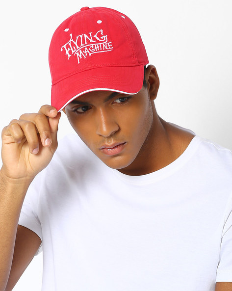 Cotton Cap With Embroidered Branding By FLYING MACHINE ( Red )