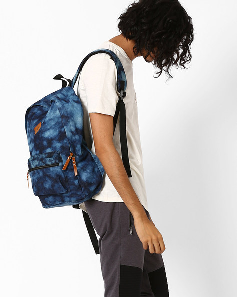 Stone-Washed Canvas Backpack By AJIO ( Blue )