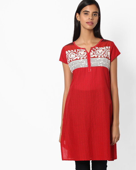 Chevron Print Straight Kurta By Jiyaa ( Red )