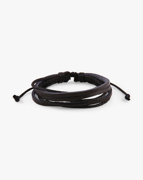 Multistrand Faux-Leather Bracelet By Eristona Man ( Black )