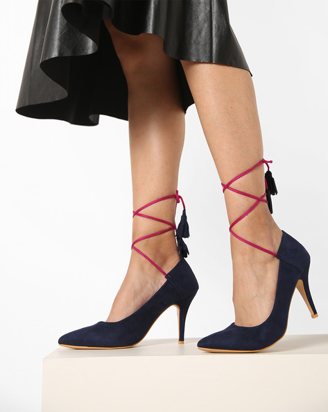 Panelled Stilettos With Tassel Tie-Ups By AJIO ( Navyblue )