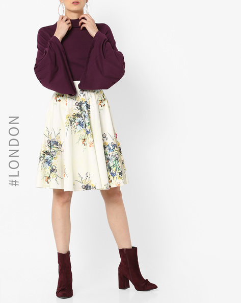 Floral Print A-line Skirt By Closet London ( Multi )