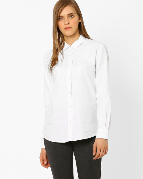 Relaxed Fit Casual Shirt By Cross Jeans ( White )