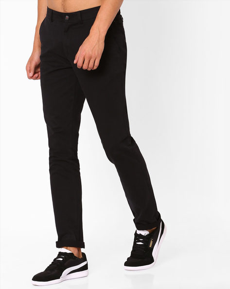 Flat-Front Cotton Chinos By NETPLAY ( Black )