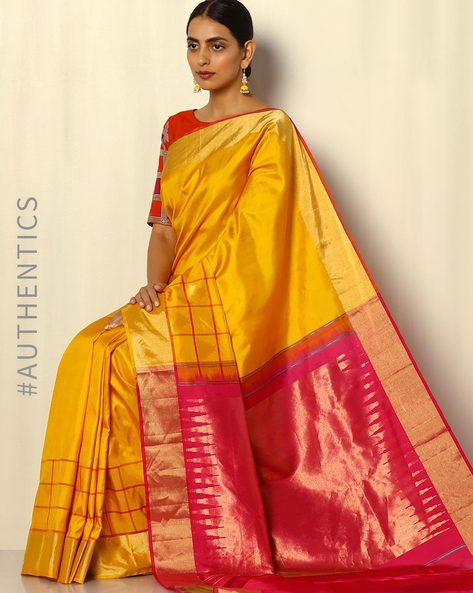 Handloom Arani Pure Silk Saree With Contrast Border By Pretty Woman ( Yellow )