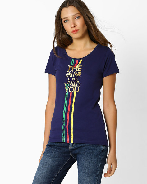 Graphic Print High-Low T-Shirt By Teamspirit ( Navy )