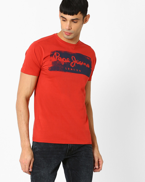 Graphic Print Slim Crew-Neck T-shirt By Pepe Jeans ( Red )