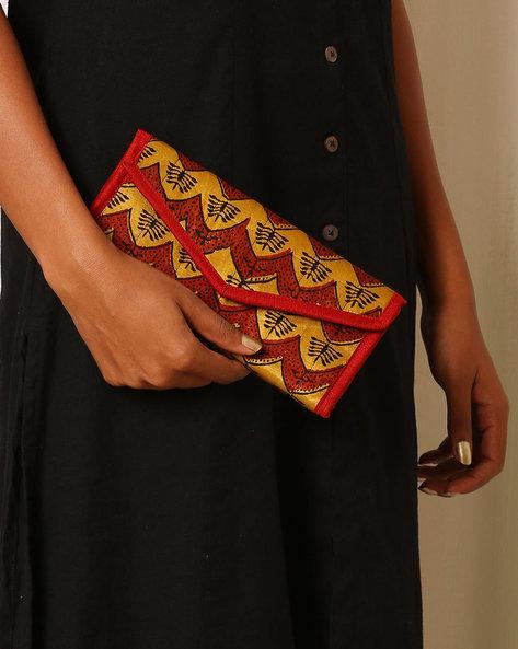 Handblock Print Mashru Silk 3-Fold Envelope Clutch By Indie Picks ( Multi ) - 460059243001