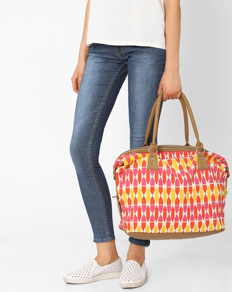 Faux Leather Geometric Print Handbag By Kanvas Katha ( Multi )