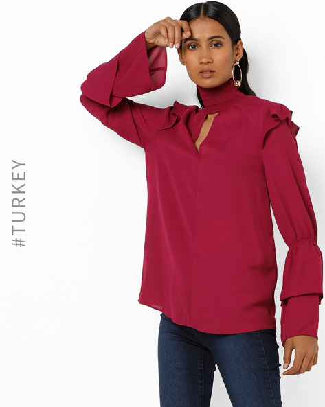 High-Neck Top With Tiered Bell Sleeves By TRENDYOL ( Fuchsia )