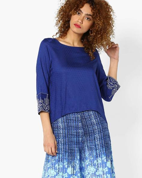 Embroidered Top With Envelope Back By Global Desi ( Blue )