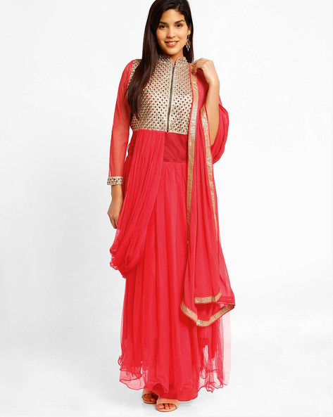 Semi-Stitched Dress Material By Viva N Diva ( Pink )