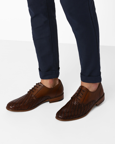 Textured Leather Derby Shoes By Hats Off Accessories ( Darkbrown )