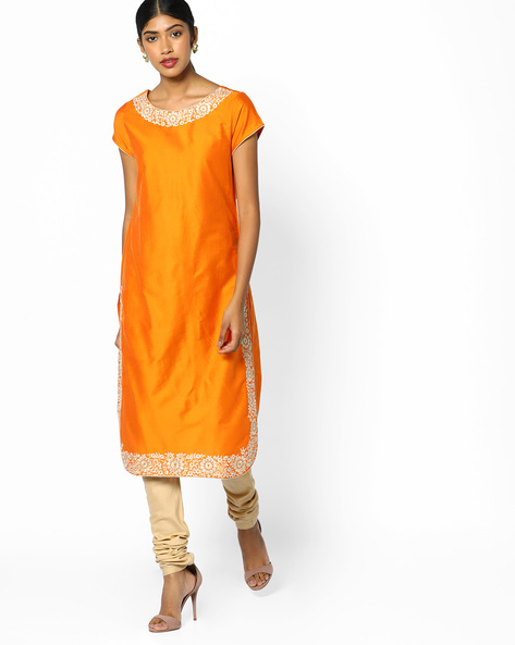 Straight Kurta With Embroidery By Melange By Lifestyle ( Orange )