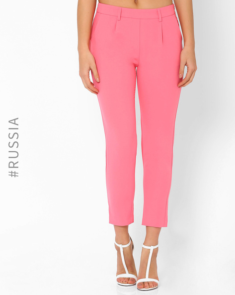 Slim-fit Trousers By Kira Plastinina ( Coral )