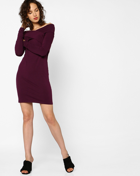 Bodycon Dress With Overlapping Panels By AJIO ( Burgundy )