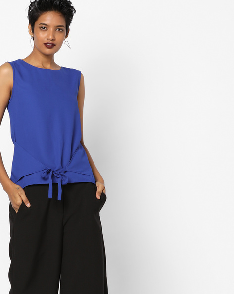 Sleeveless Top With Tie-Up By AJIO ( Navyblue )