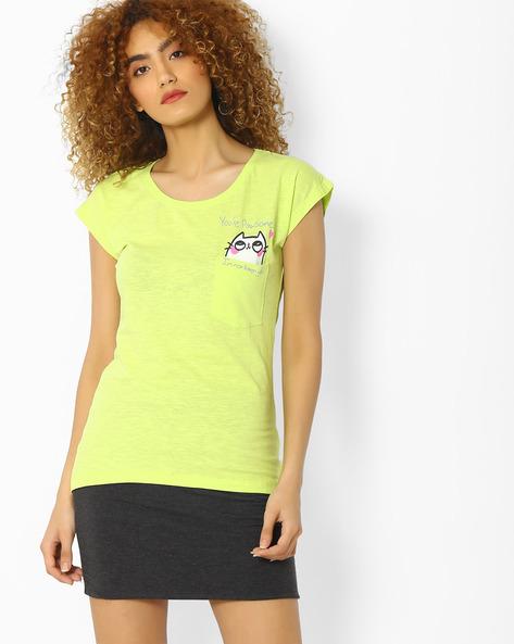 Slub Knit T-shirt With Patch Pocket By Blue Saint ( Green )