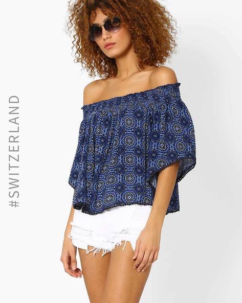 Off-Shoulder Kimono Top By TALLY WEiJL ( Blue )