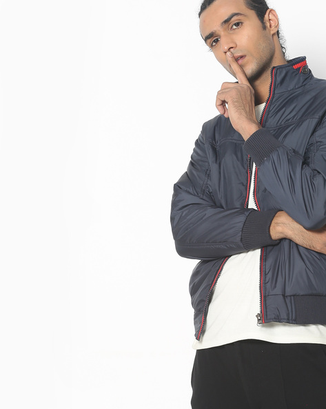 Bomber Jacket With Contrast Front-Zip By Fort Collins ( Navybluesilver )
