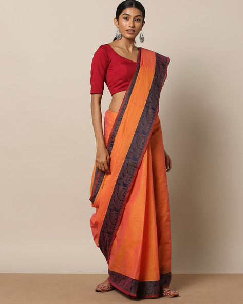 Kanchi Cotton Saree With Woven Border By Indie Picks ( Pink ) - 460164780001