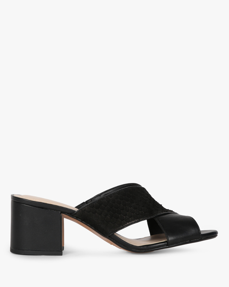 Textured Criss-Cross Chunky-Heeled Sandal By CLARKS ( Black )