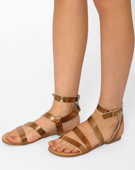 Strappy Flats With Buckle Closure By Curiozz ( Bronze )